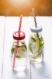 刷新的自创调味的水用柠檬、石灰和盖醇在一张白色桌上在庭院里 新的成人 贝蒂 库存图片