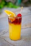 刷新的酒精热带鸡尾酒Jaegermeister新鲜的桔子 图库摄影