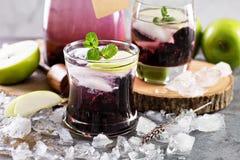 刷新的鸡尾酒用黑莓和淡紫色 免版税库存图片