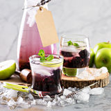 刷新的鸡尾酒用黑莓和淡紫色 库存照片