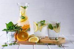 刷新的黄瓜鸡尾酒,柠檬水,在一块玻璃的戒毒所水在白色背景 免版税图库摄影