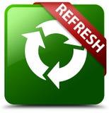 刷新绿色方形的按钮 免版税库存照片
