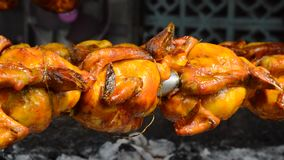 刺中在铁和滚动在火炉的烤鸡 影视素材