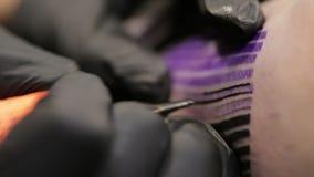 刺字艺术家画在他的客户皮肤的线,在针的宏观看法 股票录像