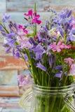 刺激与新鲜的五颜六色的花束春天森林花和hyacin 免版税库存图片