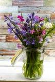 刺激与新鲜的五颜六色的花束春天森林花和hyacin 图库摄影