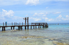 刺激光线海滩科苏梅尔,墨西哥 免版税库存图片