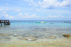 刺激光线海滩科苏梅尔,墨西哥 库存图片