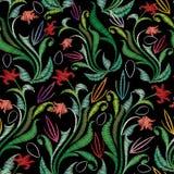 刺绣五颜六色的花卉无缝的样式 挂毯传染媒介bac 图库摄影