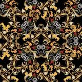 刺绣五颜六色的花卉无缝的样式 挂毯传染媒介bac 库存照片