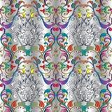 刺绣五颜六色的花卉无缝的样式 挂毯传染媒介bac 免版税库存图片