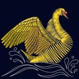 刺绣天鹅设计 免版税库存照片