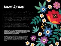刺绣样式开花并且分支横幅或背景 皇族释放例证