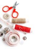 刺绣用品剪刀线程数工具 图库摄影