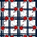 刺绣红色花纹花样和蓝色格子呢无缝的样式 有益于桌布,织品,组织 库存图片