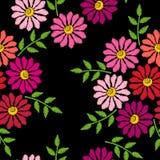 刺绣缝与花的仿制无缝的样式 向量例证