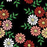 刺绣缝与花的仿制无缝的样式 库存例证