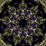 刺绣葡萄葡萄酒巴洛克式的无缝的样式 传染媒介装饰挂毯莓果背景 难看的东西重复坛场背景 皇族释放例证