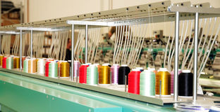 刺绣行业设备纺织品 免版税图库摄影