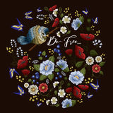刺绣五颜六色的花卉样式 向量例证