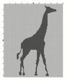 绣刺绣手的动物长颈鹿十字架 免版税库存图片