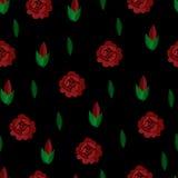 刺绣 无缝的模式 向量 背景重复 黑色红色玫瑰 免版税库存图片