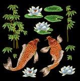 刺绣用传统日本鲤鱼和花 免版税库存图片