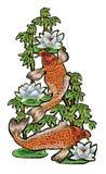 刺绣用日本鲤鱼和花 免版税库存图片