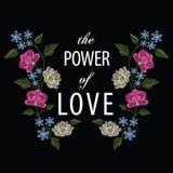 刺绣缝与兰花、木兰、hepatica花和t 库存照片