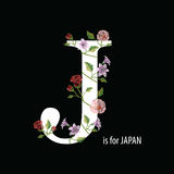 刺绣缝与木槿,玫瑰色,并且百合和文本J是f 免版税库存图片