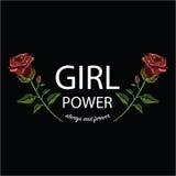 刺绣缝与红色玫瑰和口号女孩力量 免版税库存照片