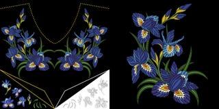刺绣花卉领口设计 皇族释放例证