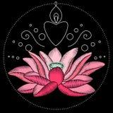 刺绣莲花织品设计 免版税库存照片