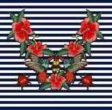 刺绣蜂鸟、木槿花、蝴蝶和瓢虫 免版税图库摄影