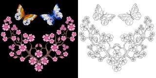 刺绣蝴蝶和佐仓设计 向量例证