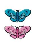刺绣,两只蝴蝶 库存照片