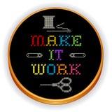 刺绣,做它工作发怒针,木箍 库存图片