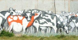 刻于墙上的文字在墙壁上的母牛 免版税库存图片