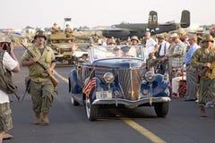 刻画福兰克林D.罗斯福总统的演员 免版税库存照片