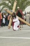 刻画耶稣基督的演员 免版税库存照片