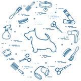 刻痕狗剪影,梳子,衣领,皮带,剃刀,吹风机 免版税库存照片