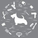 刻痕狗剪影,梳子,衣领,皮带,剃刀,吹风机 向量例证
