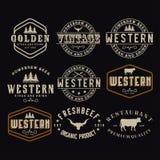 刻记西部酒吧/餐馆商标设计启发的古色古香的框架边界标签减速火箭的国家象征印刷术 要素 向量例证
