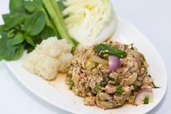 剁碎的猪肉辣泰国 免版税库存照片
