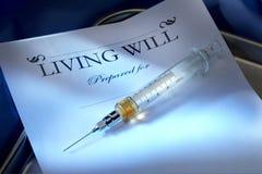 剂量可注射的致死的生前遗嘱 库存照片