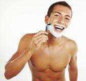 剃在浴的年轻人 免版税库存照片