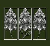 削减与装饰羽毛的激光长方形框架在橄榄色的颜色背景中形成 库存例证