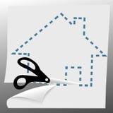 削减加点的房子线路剪符号 库存照片