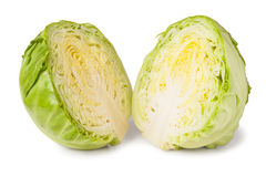 削减在白色背景隔绝的年轻圆白菜头 库存图片