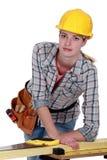 削减委员会的女工匠 库存照片